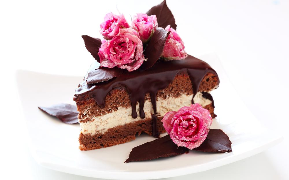 Chocolate, baking, cake, cake, sweets, frosting, cake, cream, dessert, slice, roses, sugar