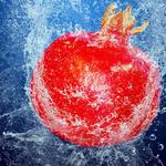 Food, bubbles, water, fruit, pomegranate