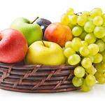 Peaches, fruit, grapes, apples, berries