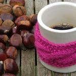 Nuts, pink patch, mug, coffee