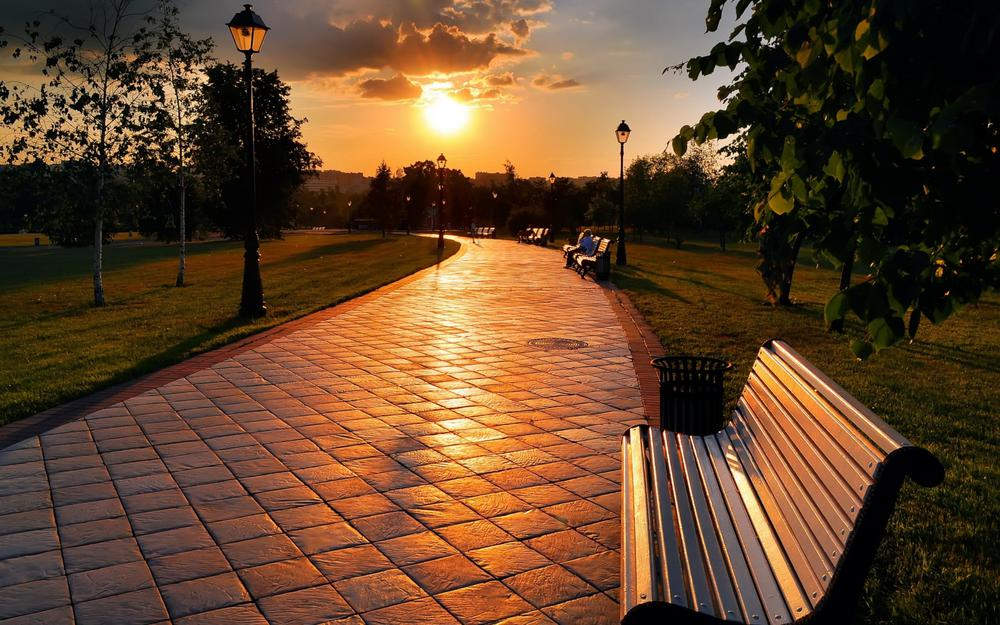 Path, bench, sun, city, sunset