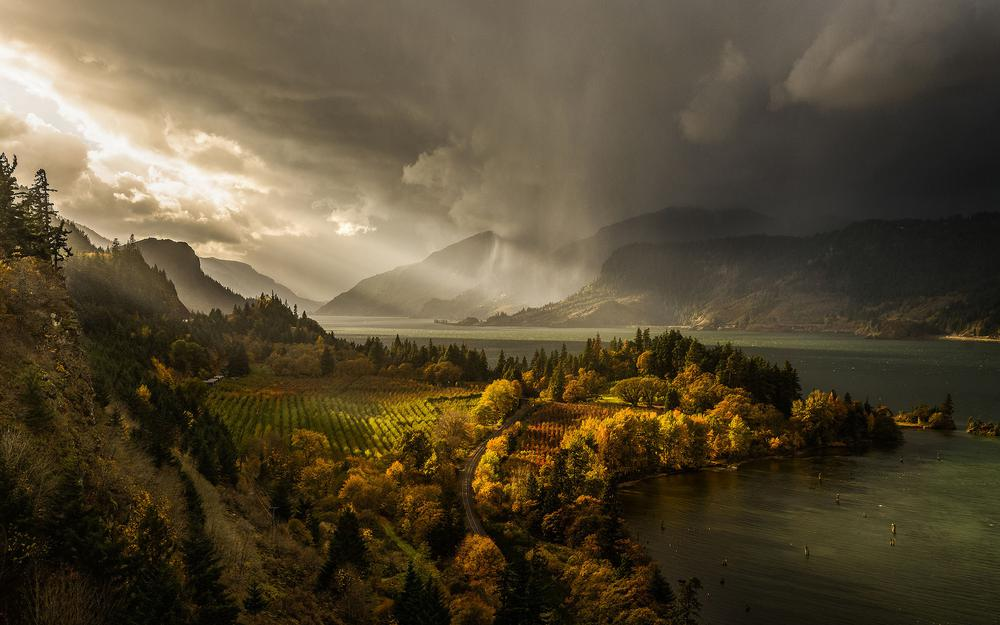 Staff, rain, clouds, light, columbia, oregon, canyon, river, united states, hood river, columbia river gorge, autumn, november