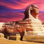 History, sphinx, landmark, sky, sunset, sand, egypt, paint