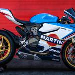 Blue motorcycle ducati 1199 panigale martini