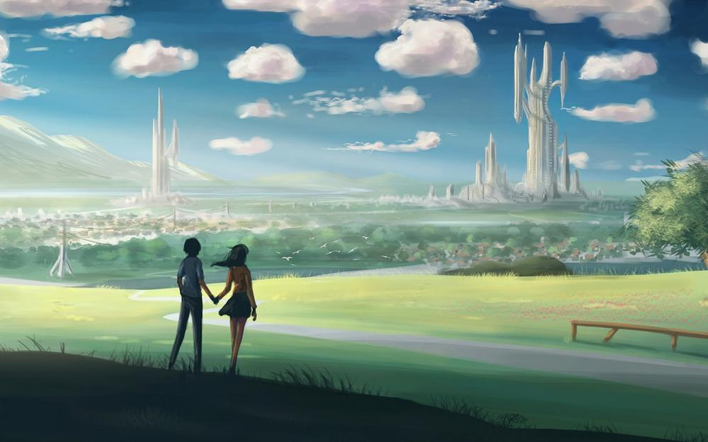Lovers holding hands, scenery, cartoon city, longing for a better, wallpaper