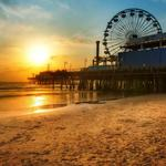 Santa monica, sunset, beach, ferris, dock, wheel, los angeles