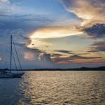 Boats, lake, evening, sunset, clouds