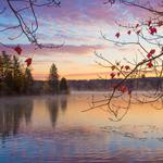Autumn, forest, lake, morning, sunrise, landscape wallpaper