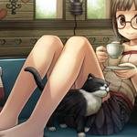 Girl, glasses, cup