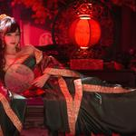 Classical beauty, costume, costumes, fans, lamps, chairs, pillows, beautiful wallpaper