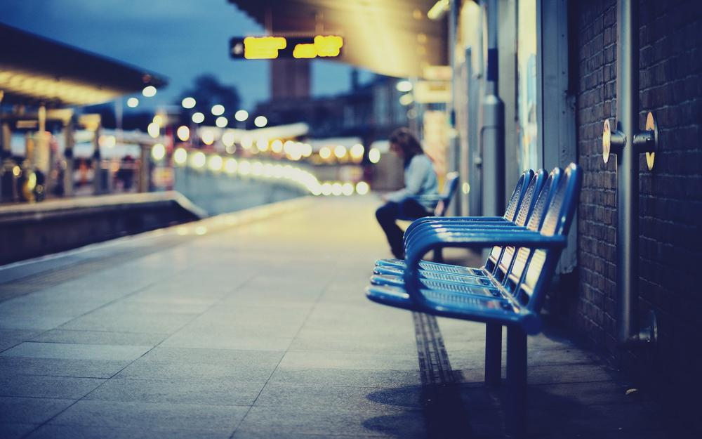 Station, chairs, road
