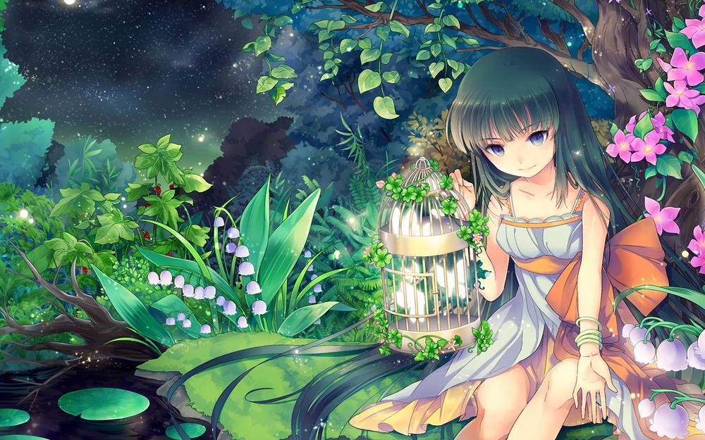 Girl, forest, night, pond, beautiful wallpaper