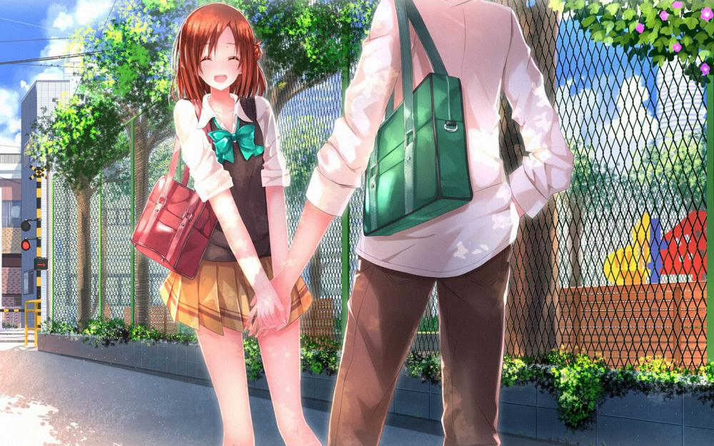 Campus love, lovers, lovers, holding hands, animation wallpaper