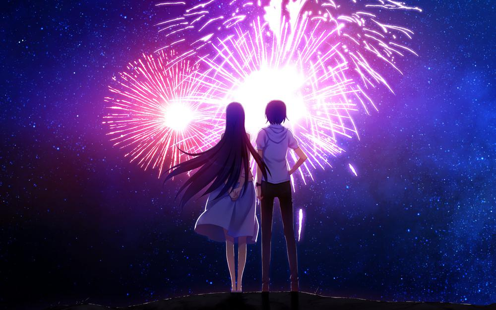 The most beautiful fireworks anime couples wallpaper