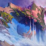 Castle, air, rocks, waterfalls, island, ether saga online