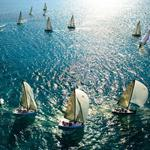 Sails, ocean, boats, masts wallpaper