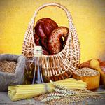 Basket, bag, pretzels, breads, mortar, corn oil