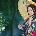 Smile, cute, beautiful, kimono, clothing, beauty umbrella pictures, wallpaper