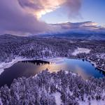 Lake snow winter forest wallpaper