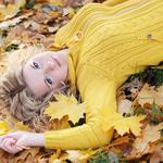 Blonde, leaves, autumn