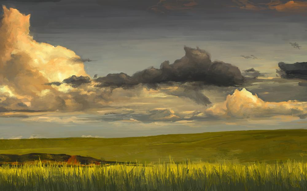 Horizon, grass, nature, art, field, green, cloud