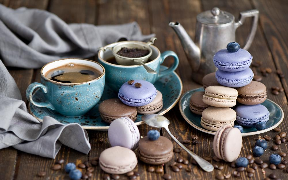 Grain, strainer, anna verdina, still life, macaron, icing, cup, sweets, berries, blueberries, service, dessert, cookies, coffee and macaroon