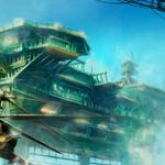 Helicopters, buildings, max qin, art, flying in the sky