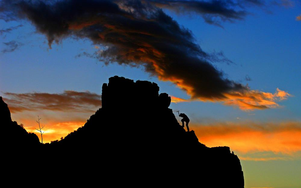 Mountaineering, mountain, sunset, climber