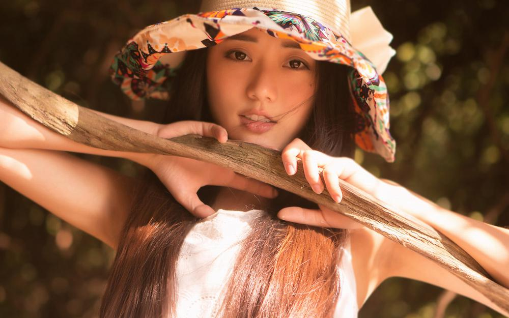 Innocent girl, wearing a hat beautiful, long-haired beauty, pure, supermodel, missy, wallpaper