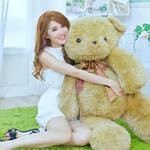 Room, girl, bear, good mood, smiling, cute, beautiful wallpaper