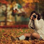 Yellow autumn leaves trees park girl sitting on the ground taking pictures desktop wallpaper