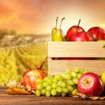 Harvest, grapes, apples, pears, crate, autumn, fruits
