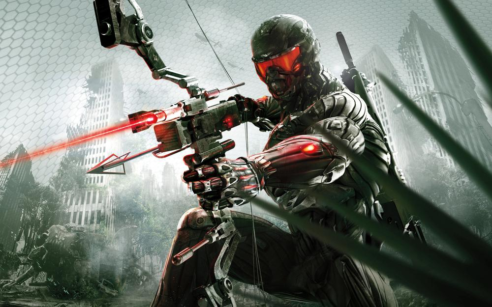 Crysis 3, prophet with a crossbow bow in his hands, nanosuit