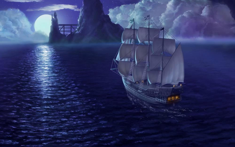 Fabulous ship with sails wallpaper