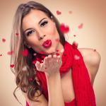 Lips, gesture, makeup, in red, brown-haired woman, hearts, hairstyle, kiss, lipstick, scarf