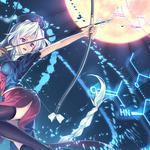 Girl, angry mood, bow and arrow, air, gorgeous turn, anime desktop wallpaper