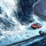 Car graphics red sports snow winter desktop wallpaper