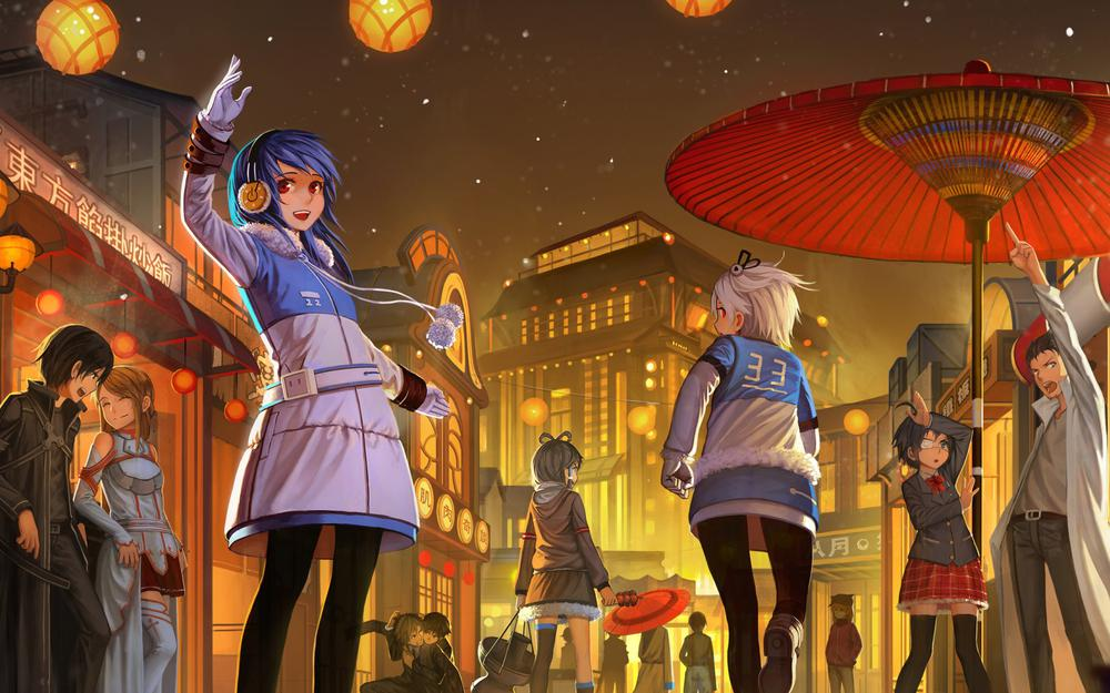 Bilibili, happy new year, cute anime characters, scenes, wallpapers