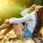 Brown-haired beauty, denim shorts with straps, outdoor beautiful photo desktop wallpaper