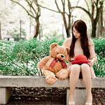 Park, bench, girl, bear, mood, beautiful wallpaper