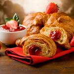 Croissant, Strawberry, breakfast, strawberries, croissants, breakfast, jams, cakes and pastries