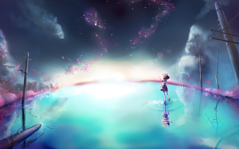 Vocaloid, kagamine ring, kagamine link, girl, water, sky, beautiful scene, anime wallpaper