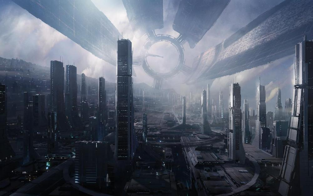 Space, fantasy, mass effect, city