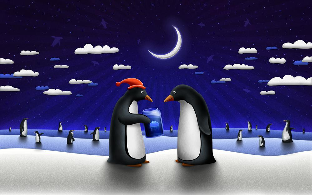 Penguins, picture, drawing