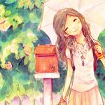 Girl, umbrella, mailbox, smile, flower, theme painting picture, desktop wallpaper