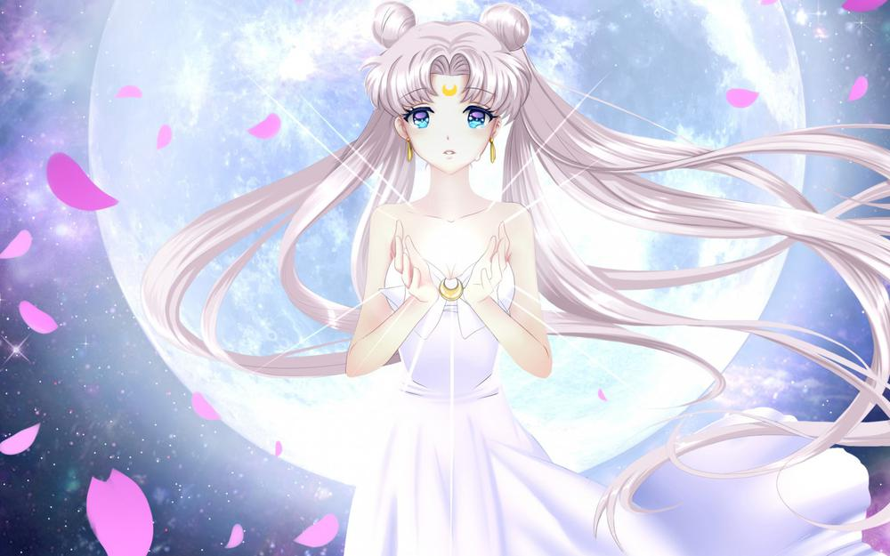 Sailor moon, sailor, moon, petals, tranquil, girl, moon pictures, anime wallpapers