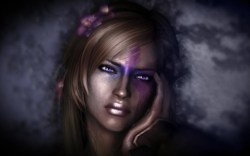 Girl face darkness