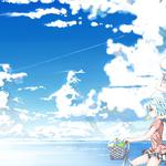 Anime girl, summer, fresh, sky, clear, cool, acg, wind blown summer, anime wallpaper
