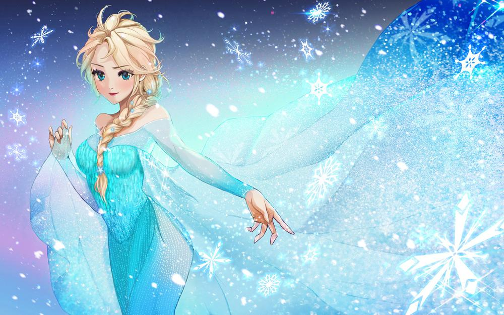 Disney, elsa, girl, snowflake, dress, beautiful and beautiful anime wallpaper