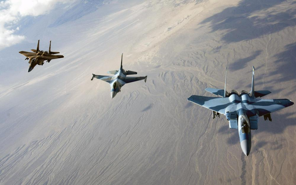 F-16 and f-15 in the air